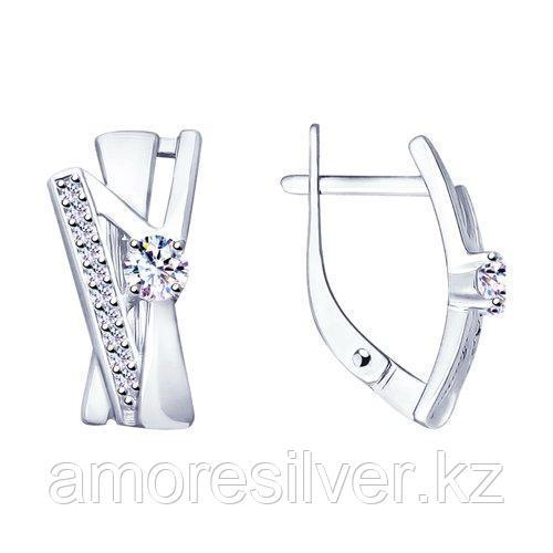 Серьги из серебра с фианитами    SOKOLOV 94023413