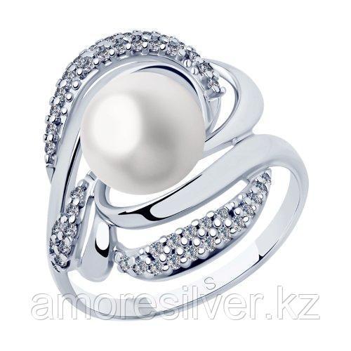 Кольцо из серебра с жемчугом и фианитами    SOKOLOV 94012883 размеры - 16,5 18,5
