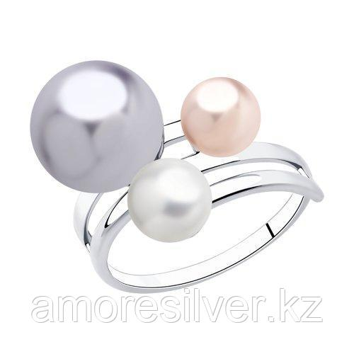 Кольцо из серебра с жемчугом Swarovski  SOKOLOV 94013044 размеры - 16,5 18