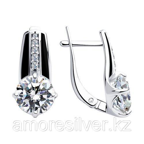 Серьги из серебра с эмалью и фианитами    SOKOLOV 94023438