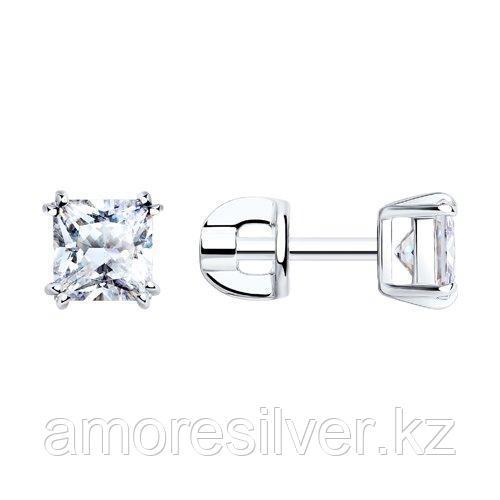 Серьги-пусеты из серебра с фианитами  SOKOLOV 94021725