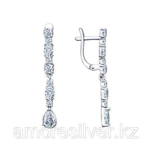 Серьги из серебра с фианитами  SOKOLOV 94021709