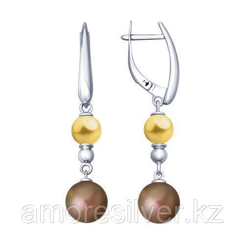 Серьги из серебра с жёлтыми и коричневыми жемчугом Swarovski SOKOLOV 94023016
