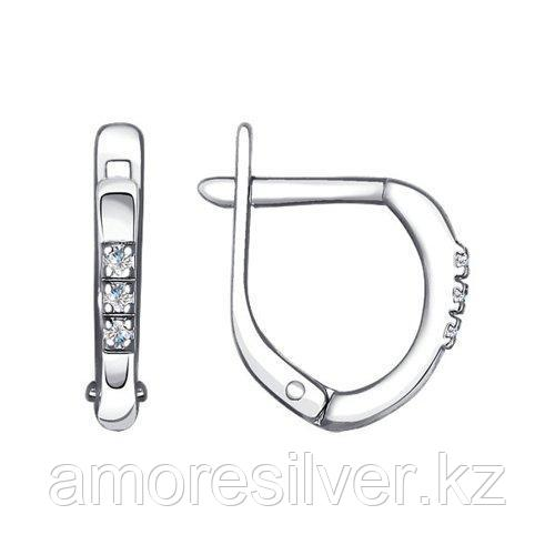 Серьги из серебра с фианитами  SOKOLOV 94020086