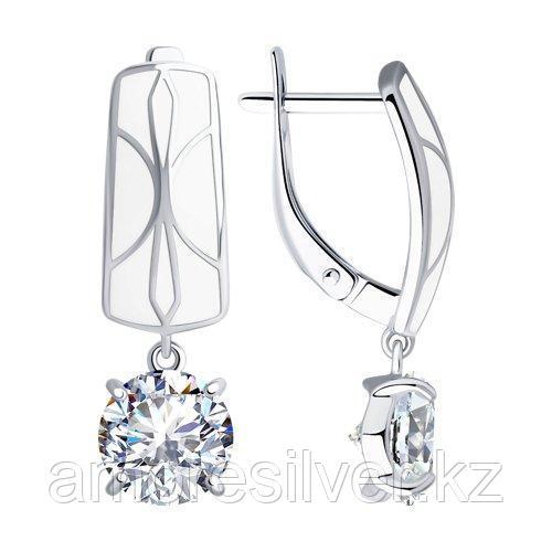Серьги из серебра с эмалью и фианитами  SOKOLOV 94023409