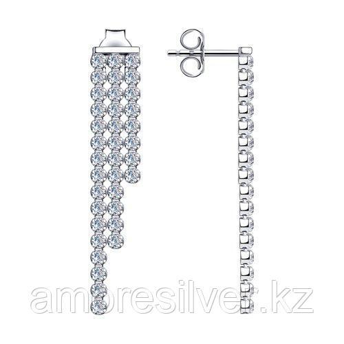 Серьги из серебра с фианитами  SOKOLOV 94024527