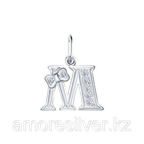 Подвеска-буква из серебра с фианитами  SOKOLOV 94030476