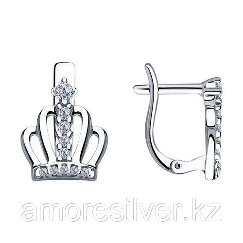Серьги из серебра с фианитами  SOKOLOV 94023519