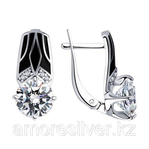 Серьги из серебра с эмалью и фианитами    SOKOLOV 94023412