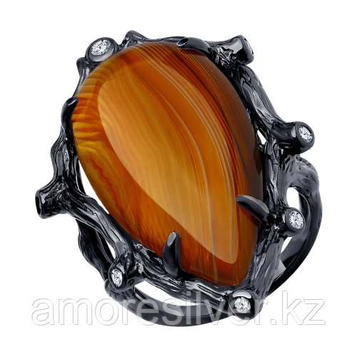 Серебряное кольцо с агатом и фианитом    SOKOLOV 94-310-00516-1 размеры - 19 19,5