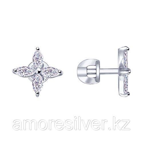 Серьги из серебра с фианитами    SOKOLOV 94023053