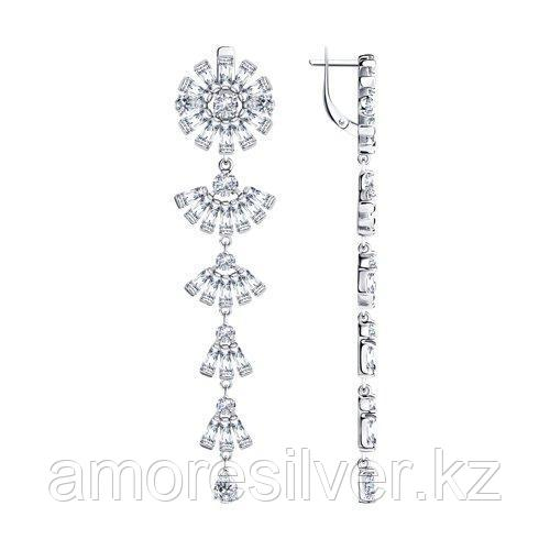 Серьги из серебра с фианитами   SOKOLOV 94023713