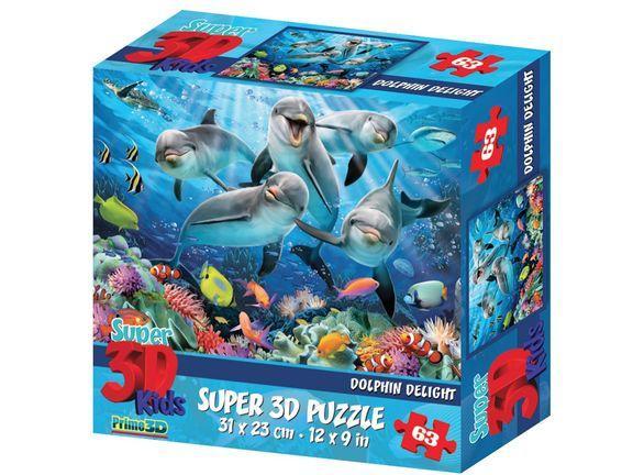Prime 3D: Пазл Super 3D «Дельфиний восторг», 63 детал. - фото 1