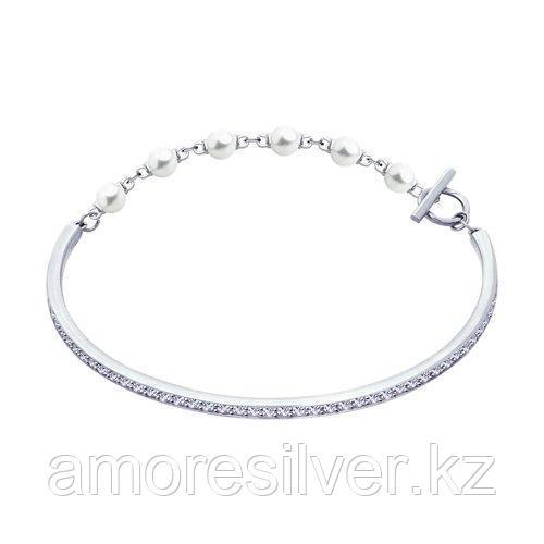 Браслет из серебра с жемчугом Swarovski и фианитами  SOKOLOV 94050496 размеры - 16