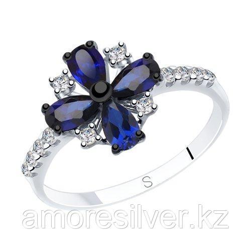 Кольцо из серебра с синими корунд (синт.) и фианитами    SOKOLOV 88010058
