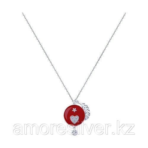 Колье SOKOLOV серебро с родием, эмаль фианит  94070233