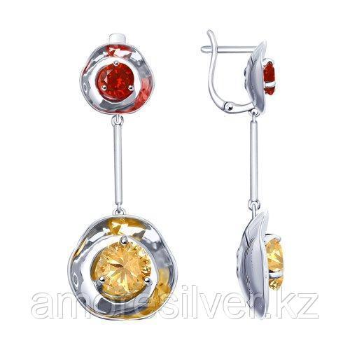 Серьги SOKOLOV серебро с родием, фианит  8-94020011