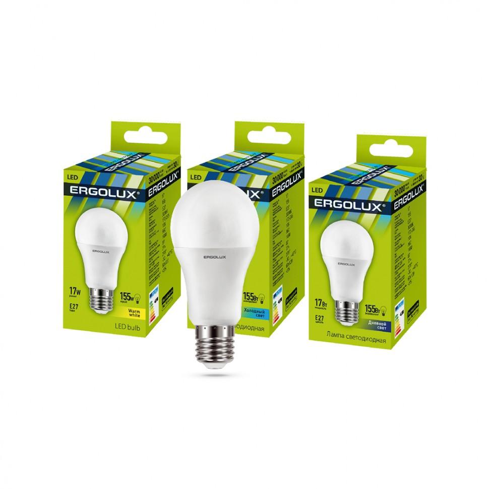 Эл. лампа светодиодная Ergolux LED-A60-17W-E27-4K, Холодный