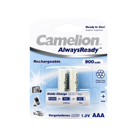 Аккумулятор CAMELION AlwaysReady Rechargeable Ni-MH NH-AAA900ARBP2 2 шт. в блистере
