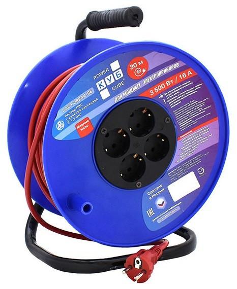 Силовой удлинитель на катушке Power Cube PC-BG4-K-30, 16 А/3,5 кВт,30 м, 4 розетки с/з, красно-синий