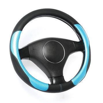 Оплётка TORSO, кожа PU, перфорация, размер 38 см, синяя карбоновая вставка, черный