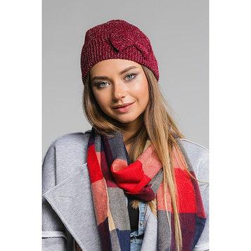 """Шапка женская с люрексом """"Виктория"""", размер 54-56, цвет бордовый"""