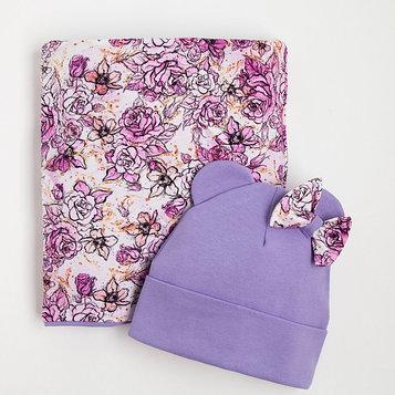 Комплект для девочки (шапка, снуд), цвет сиреневый, размер 46-50