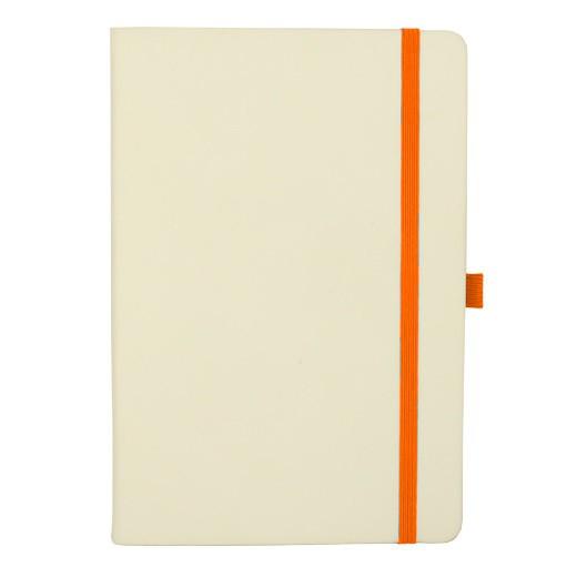 Блокнот А5, белый, оранжевый срез