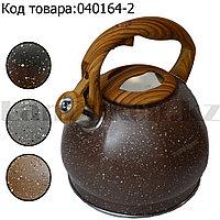 Чайник для кипячения воды со свистком эмалированный с подарочной сумкой в комплекте 3 литр цвет коричневый