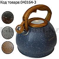 Чайник для кипячения воды со свистком эмалированный с подарочной сумкой в комплекте 3 литр цвет мокрый асфальт