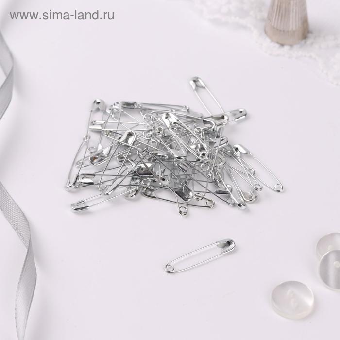 Булавки английские №0, 27 × 5 мм, 50 шт, цвет серебряный - фото 2