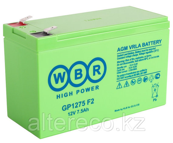 Аккумулятор WBR GP1275F2 (12В, 7,5Ач), фото 2