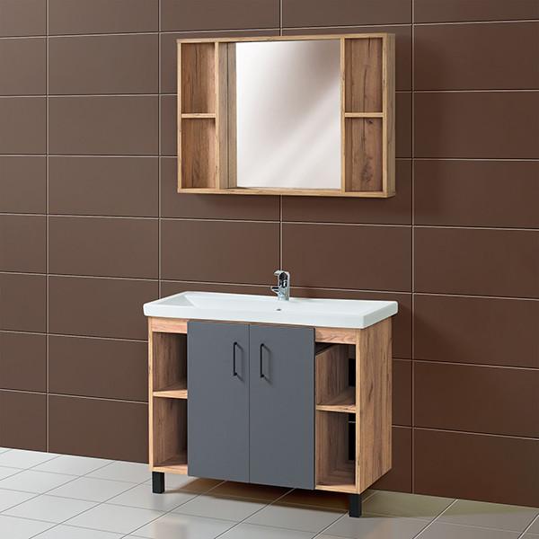 Комплект Тумба для ванной с раковиной и зеркалом «Акваль Лофт» 100 см. черный матовый (Умывальник Миранда 100)
