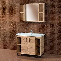 Комплект Тумба для ванной с умывальником и зеркалом «Акваль Лофт» 100 см. дерево (Миранда 100)