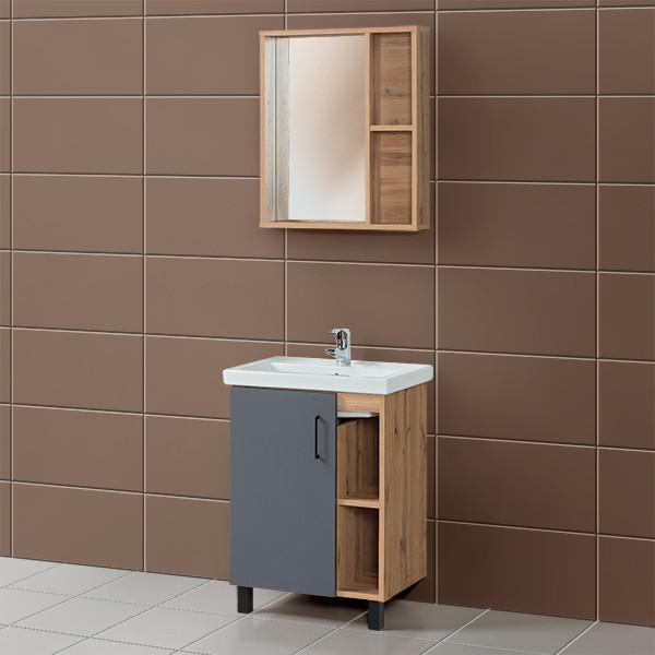 Комплект Тумба для ванной GLORIA Анкор 60 см. серый