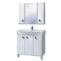 """Комплект Тумба для ванной с умывальником и зеркалом «Акваль Зара» 87 см. (Умывальник """"Элвис"""" 850)"""