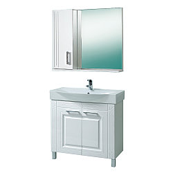 """Комплект Тумба с умывальником и зеркалом для ванной «Акваль Лорен» 80 см. (Умывальник """"Элвис"""" 850)"""