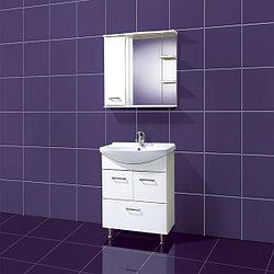Комплект Тумба с умывальником и зеркалом для ванной «Акваль Ника» 65 см. (Умывальник Чезаро 65)