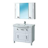Комплект Тумба с умывальником и зеркалом для ванной «Акваль Оливия» 90 см. (Умывальник Адриана 90)