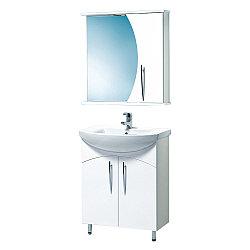 Комплект Тумба с умывальником и зеркалом для ванной «Акваль Палермо» 70 см. (Умывальник Палермо 70)