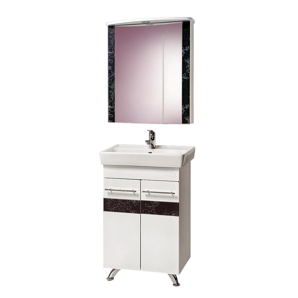 """Комплект Тумба с умывальником и зеркалом для ванной «Акваль Токио» 60 см. (Умывальник """"Бергамо 60)"""
