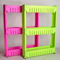Этажерка выдвижная трехъярусная на колесиках для бутылок FIT (Розовый)