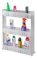 Этажерка выдвижная трехъярусная на колесиках для бутылок FIT (Белый)
