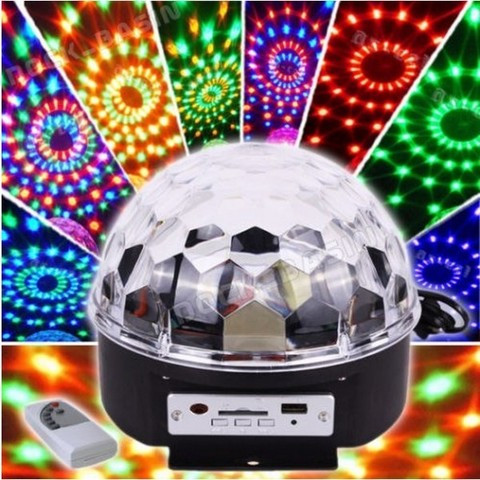 Диско-шар с МР3-плеером LED CRYSTAL MAGIC BALL LIGHT ver.2 {USB, microSD, пульт ДУ} - фото 1