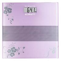 Весы напольные электронные Scarlett с платформой из ударопрочного стекла (Фиолетовые цветы)