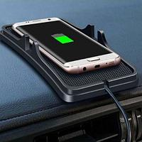 Коврик-подставка под телефон с беспроводной зарядкой QI USB с автомобильным адаптером