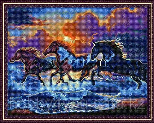 """Алмазная мозаика на подрамнике """"Бегущие по волнам"""" 40х50 см на деревянном подрамнике, фото 2"""
