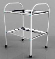 Столик процедурный с 2-мя металлическими поддонами (никелированными) 600*400*920