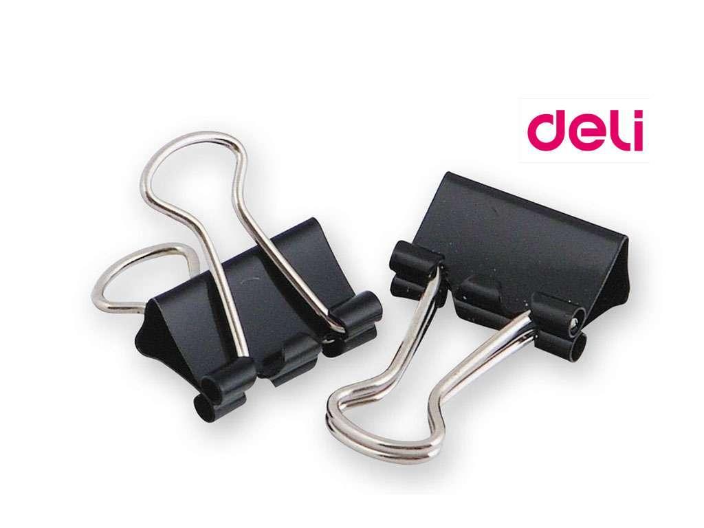 Зажимы для бумаг DELI, 25 мм, черные, (12 шт.)