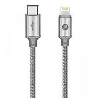 Кабель Partner USB2.0, USB type-C - lightning, 1м, серый